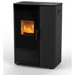 Ambiances Flammes modèle Paro poêle mixte de Rika finition acier noir.