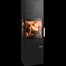 Ambiances Flammes poêle à bois modèle Salzburg easy de la marque Haas & sohn. Compartiment bûche fermé