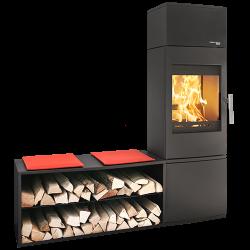 Ambiances Flammes poêle à bois modèle Salzburg easy de la marque Haas & sohn. Module double