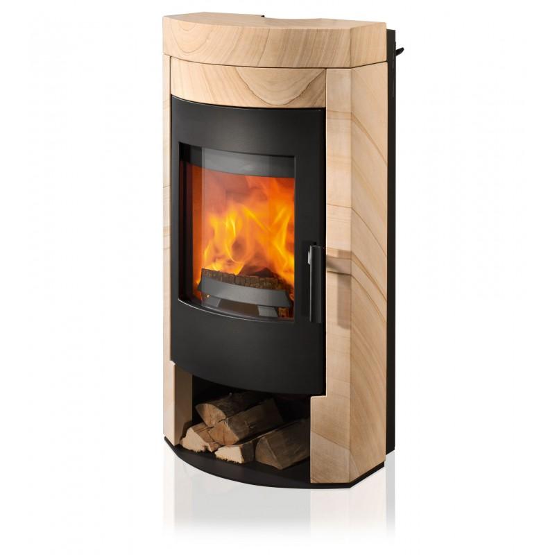 Ambiances Flammes poêle à bois imposa RIKA   habillage pierre grès corps acier noir.