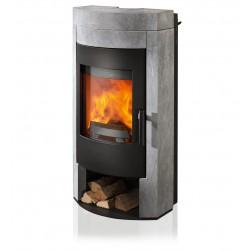 Ambiances Flammes poêle à bois imposa de la marque  RIKA   habillage pierre ollaire corps acier noir.