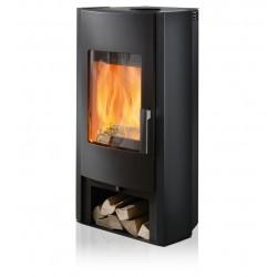 Ambiances Flammes poêle à bois tema RIKA   habillage acier noir
