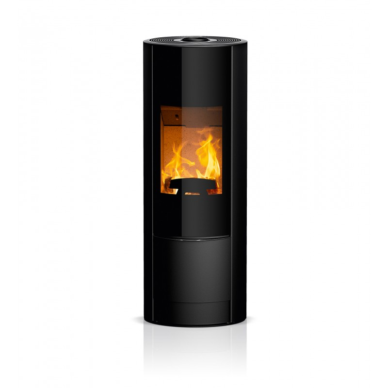 Ambiances Flamme poêle à bois swing RIKA  habillage acier noir