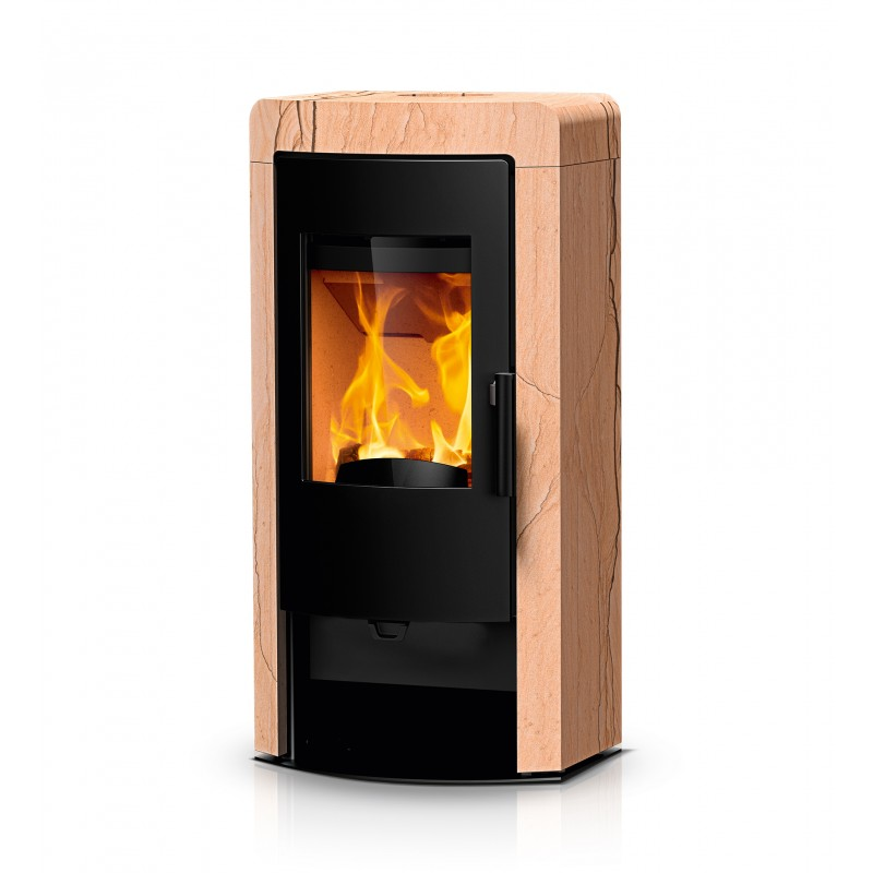 Ambiances Flammes poêle à bois nex RIKA habillage pierre grès