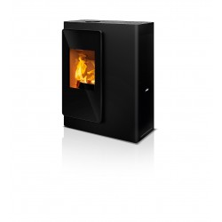 Ambiances Flammes poêle à bois idéa RIKA   habillage acier noir