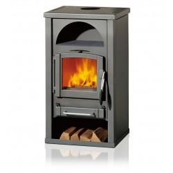 Ambiances Flammes poêle à bois alpha RIKA  habillage acier gris intérieur four céramique anthracite.