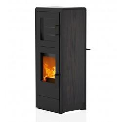 Ambiances Flammes poêle à bois back RIKA habillage acier effet bois