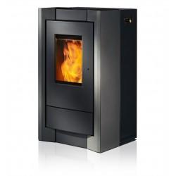 Ambiances Flammes como acier noir habillage acier gris RIKA granulés