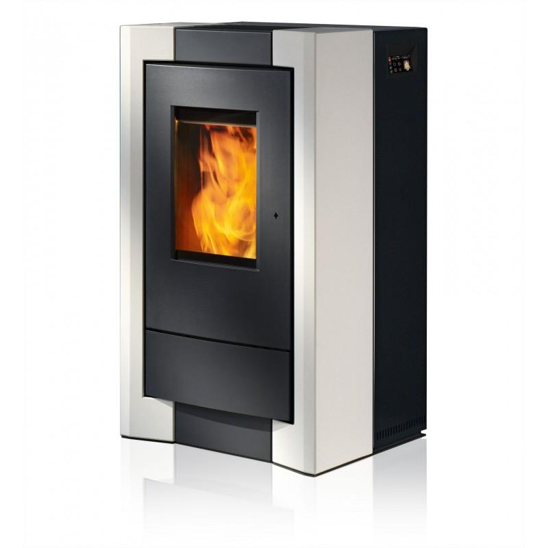 Ambiances Flammes como acier noir habillage céramique blanc RIKA granulés