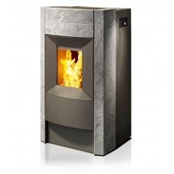 Ambiances Flammes revo acier gris habillage pierre ollaire RIKA granulés
