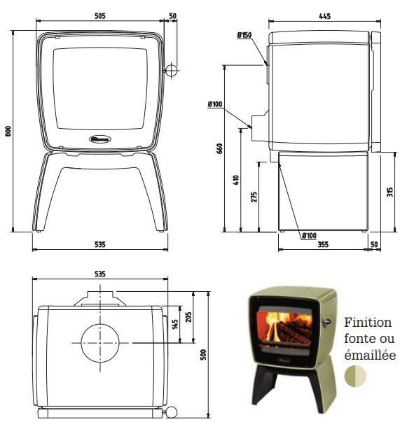 dimensions vintage35 dovre Ambiances Flammes